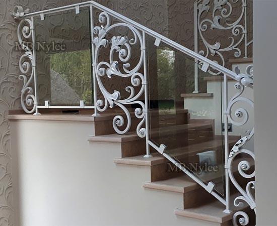Tradycyjno nowoczesna balustrada Glamour ze szkłem