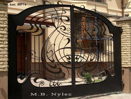A modern forged Art Nouveau gate