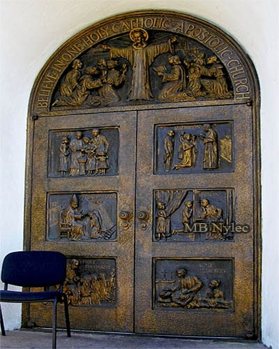 Church door carved out of bronze
