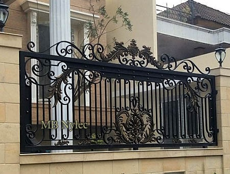 Classic forged mansion fence