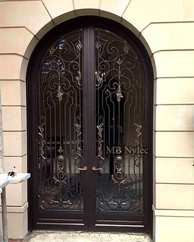 Openwork forged door with glass