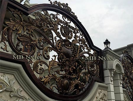 Oriental wrought iron fence
