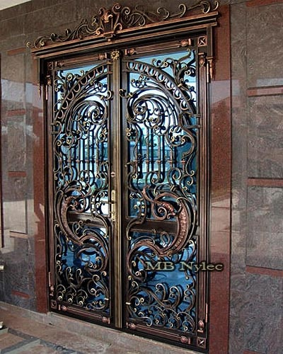 Richly decorated wrought iron door