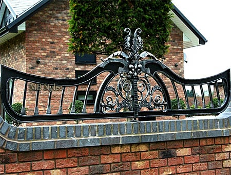 Wrought iron fence in a modern vintage style