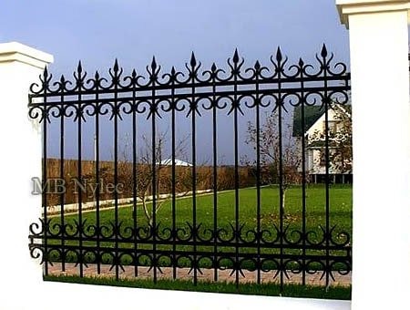 Wrought iron fence in retro style