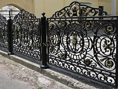 Wrought iron rococo fence