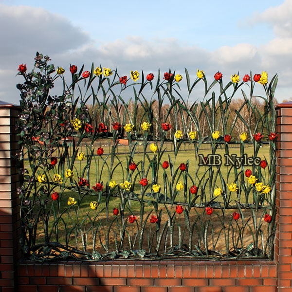 Fence with forged tulips