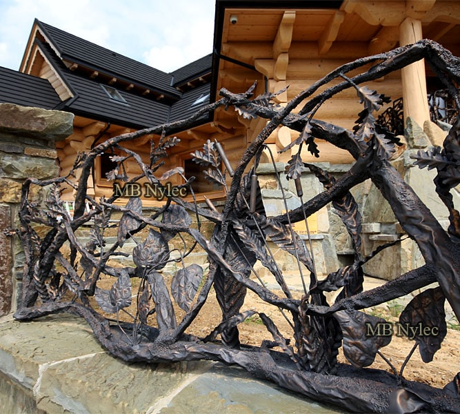 Forged gate with hand made tree branches