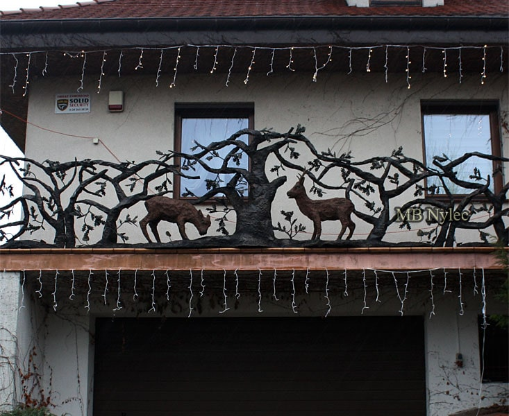 Forged hunting style railing with deers