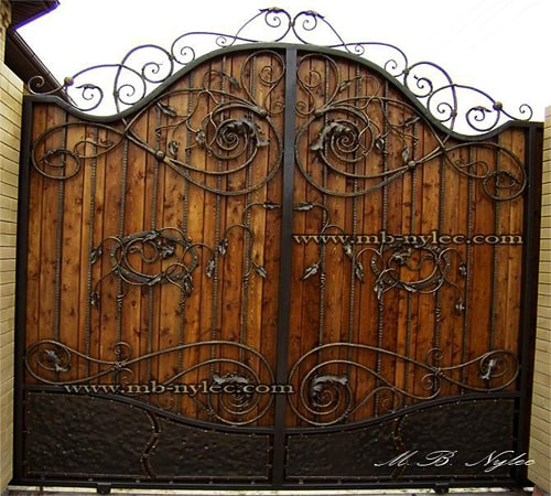 Wrought iron gate with wood