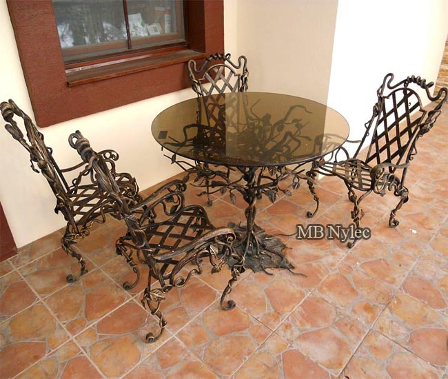 A set of wrought furniture forged iron
