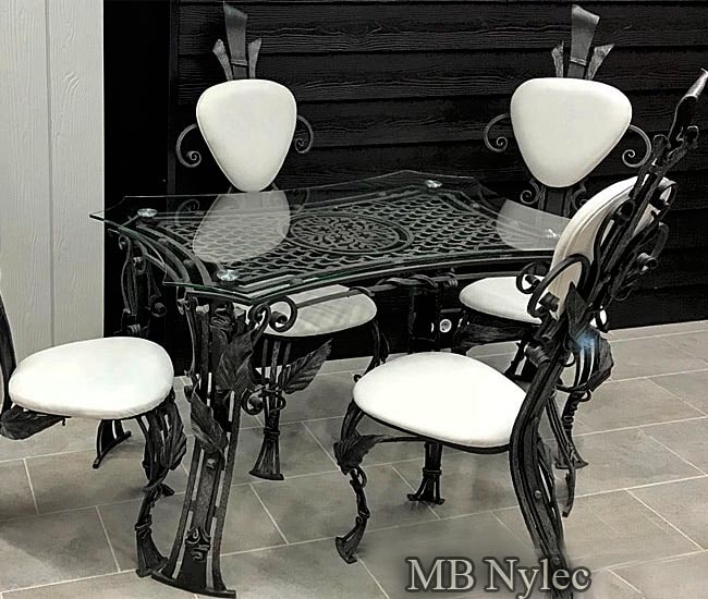 A set of wrought furniture