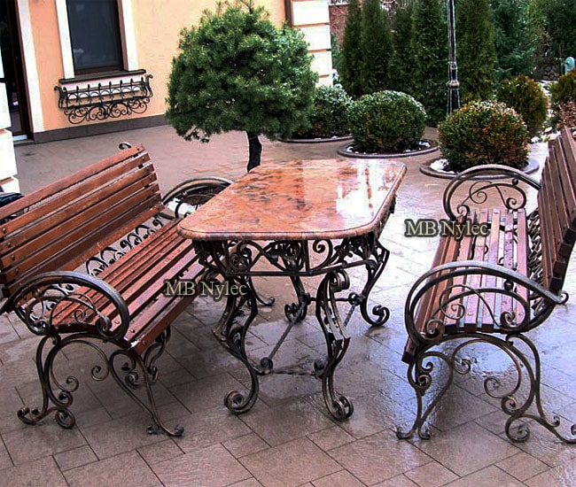 An exclusive set of forged furniture