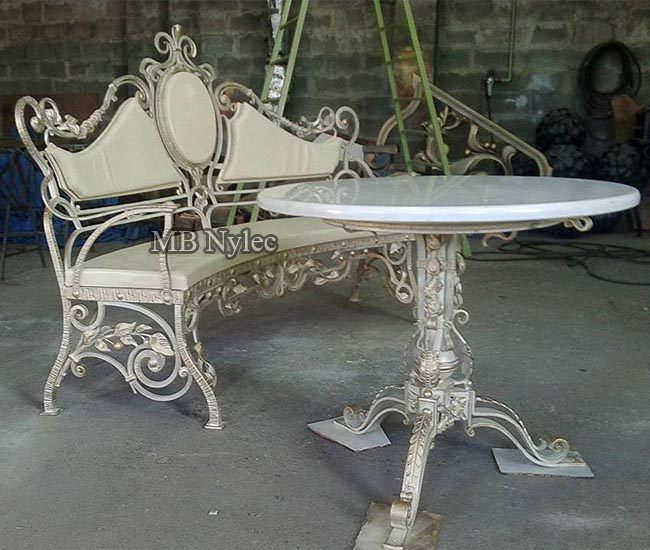 Bench with table - a set of forged furniture