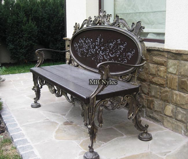 Carved forged bench with acanthus