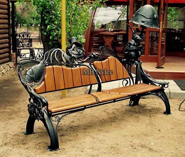 Designer forged bench - metal sculpture