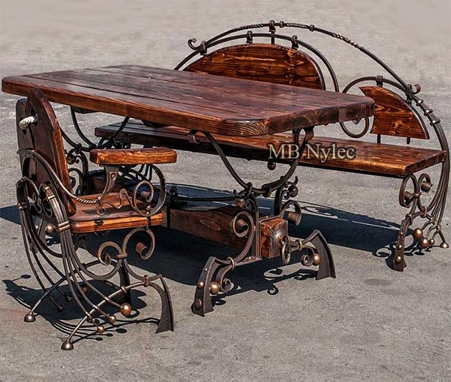 Designer set of wrought furniture