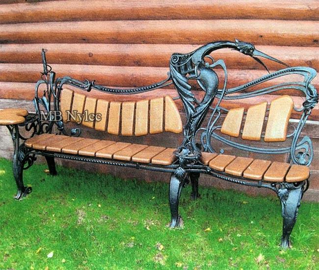 Designer wrought iron garden bench