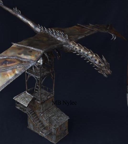 Dragon on the tower - 97cm 9.5kg stainless steel sculpture