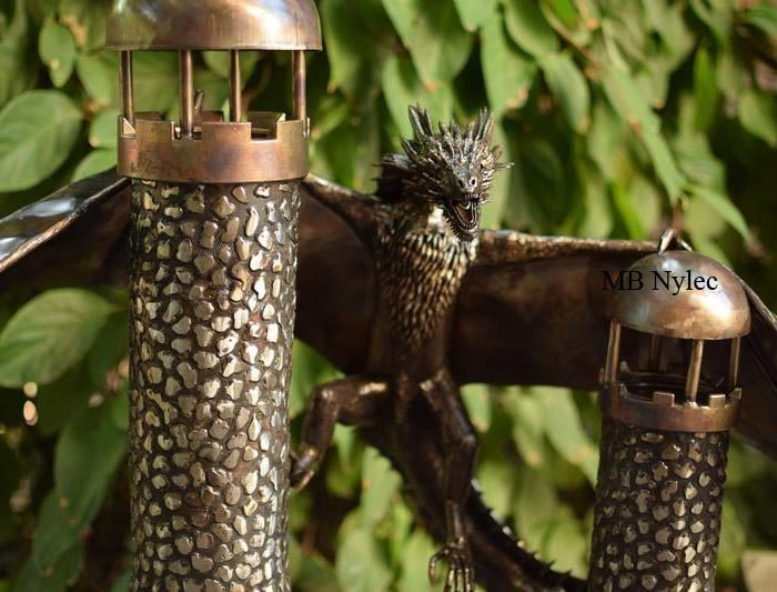 Dragon on the towers - forged stainless steel figure - metalwork