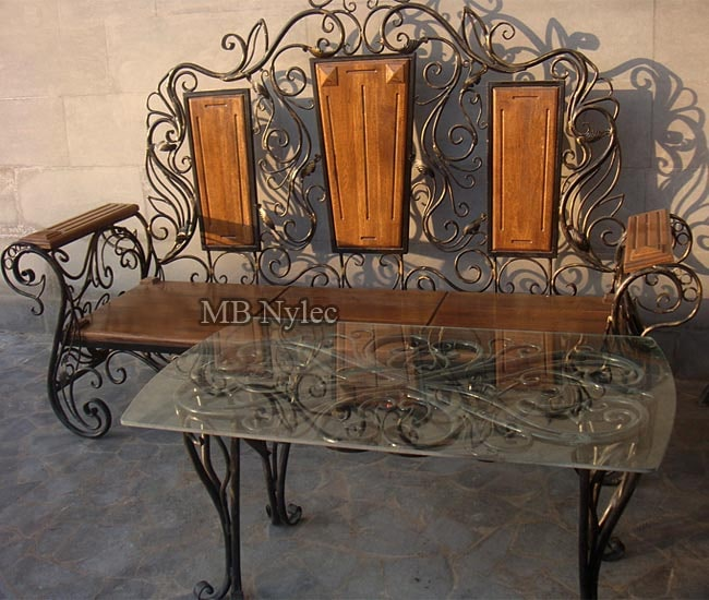 Forged furniture - a set of bench and table