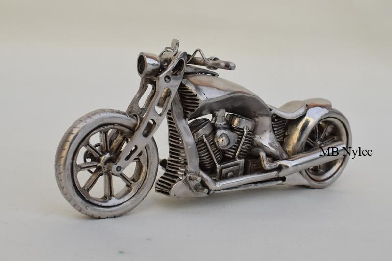 Forged hand-made figure of the Harley Davidson motorcycle