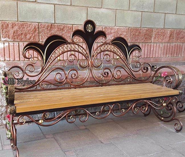 Forged steel garden bench