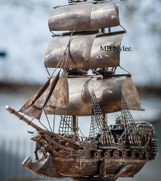Sailing ship - intricate figure made of stainless steel - artistic smithery