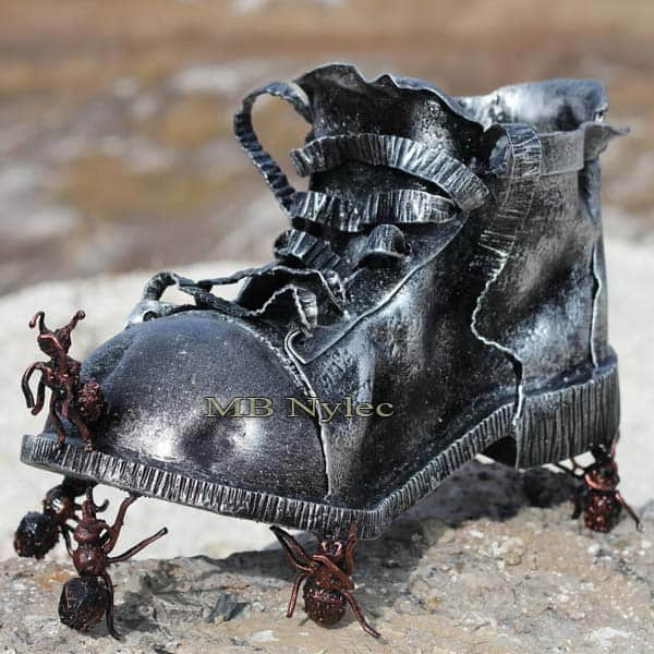 Shoe and ants - metal sculpture