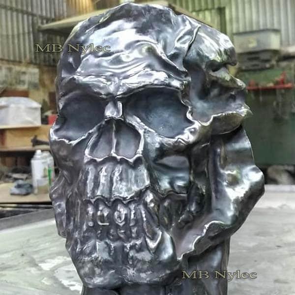 Skull - steel relief