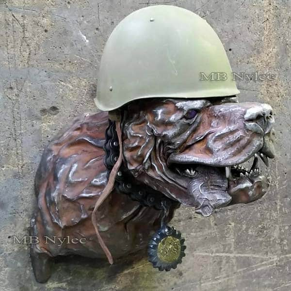 Soldier dog - steel sculpture