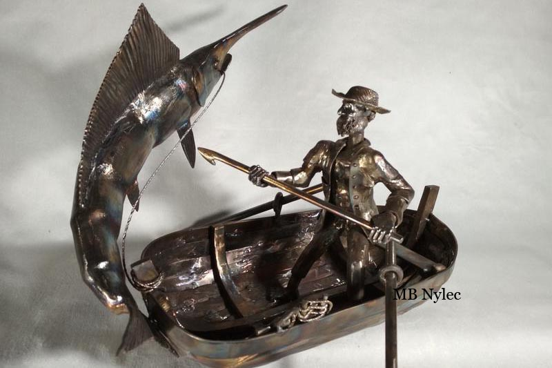 Steel sculpture - fisherman on a boat - old man and sea - Hemingway 41cm
