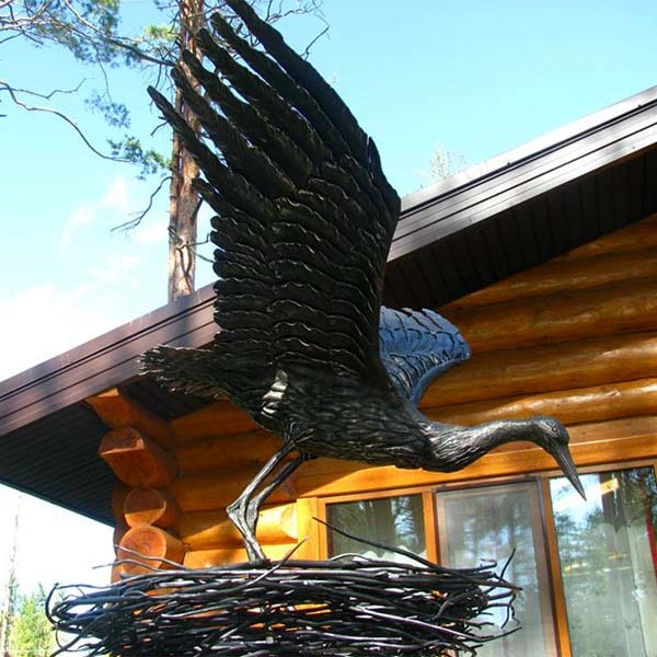Stork in the nest - steel-figure
