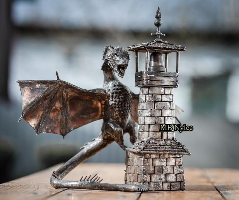 The dragon on the tower from Game of Thrones made of stainless steel