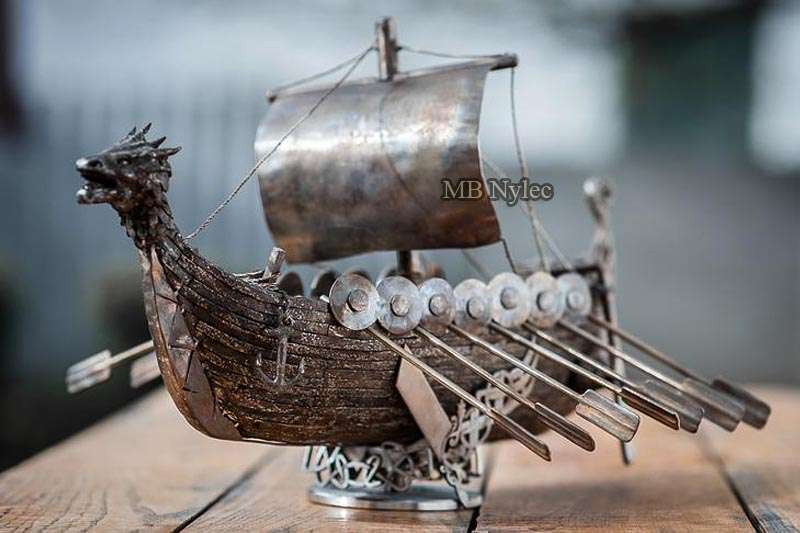 Viking boat drakkar - stainless steel sculpture
