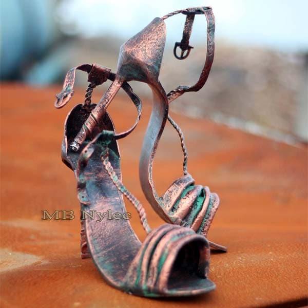 Women's high heels - metal sculpture