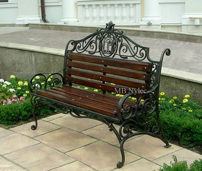 Wrought iron bench in a manor style
