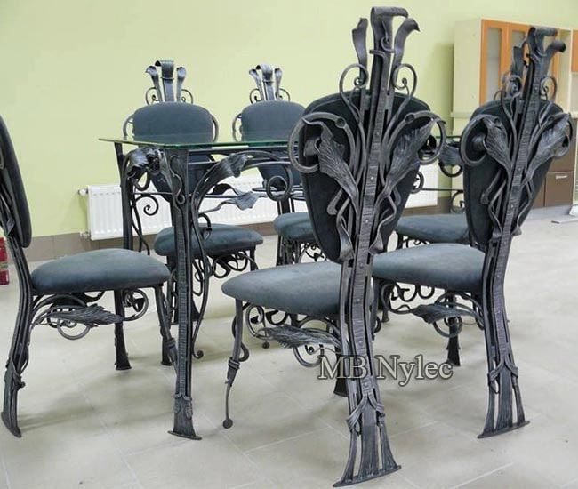Wrought iron table and chairs - a set of furniture
