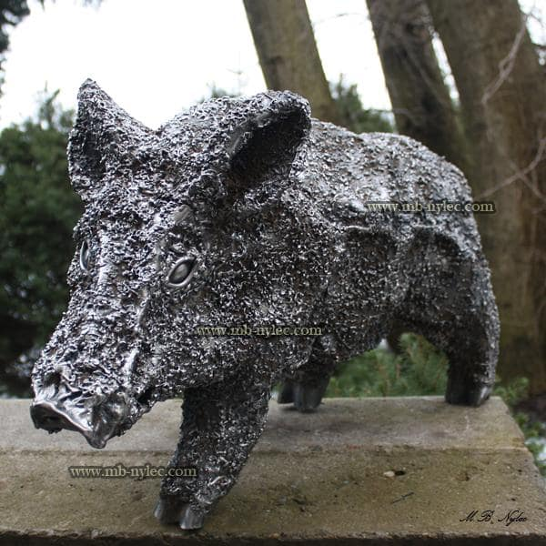 Young wild boar - steel figure