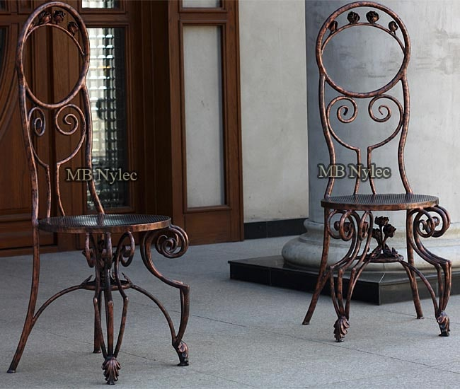 Elegant wrought iron chairs