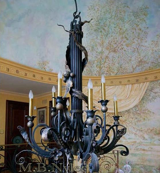 Exclusive forged chandelier wrought