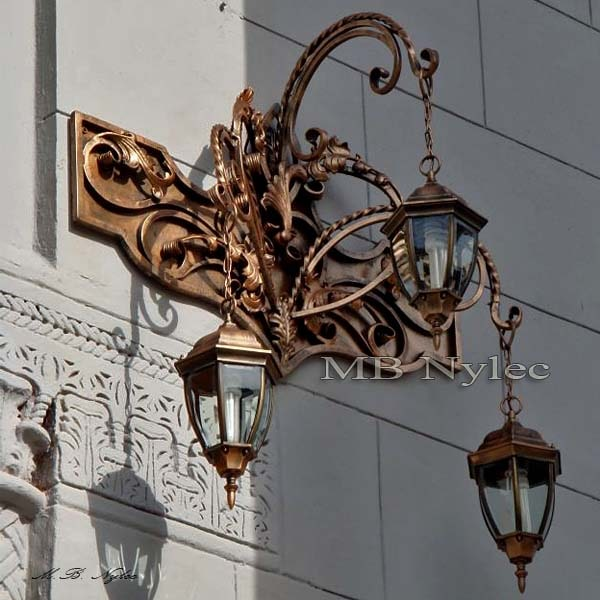 Forged 3-arm garden wall lamp