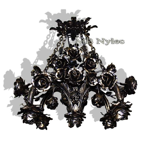 Forged chandelier - wrought iron roses