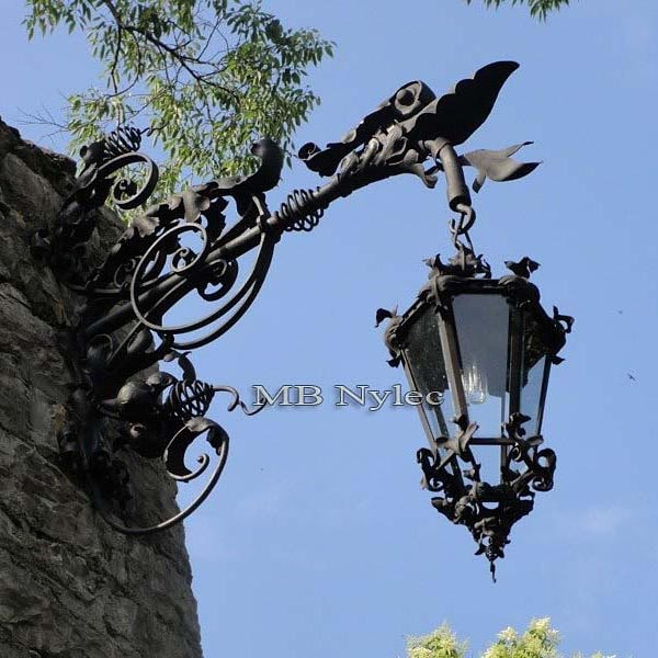 Large forged steel wall lamp