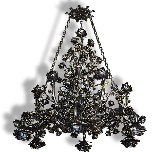 Massive forged chandelier - 12 arms