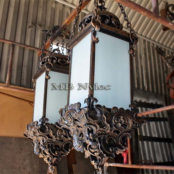 Massive hanging baroque wrought iron lamp