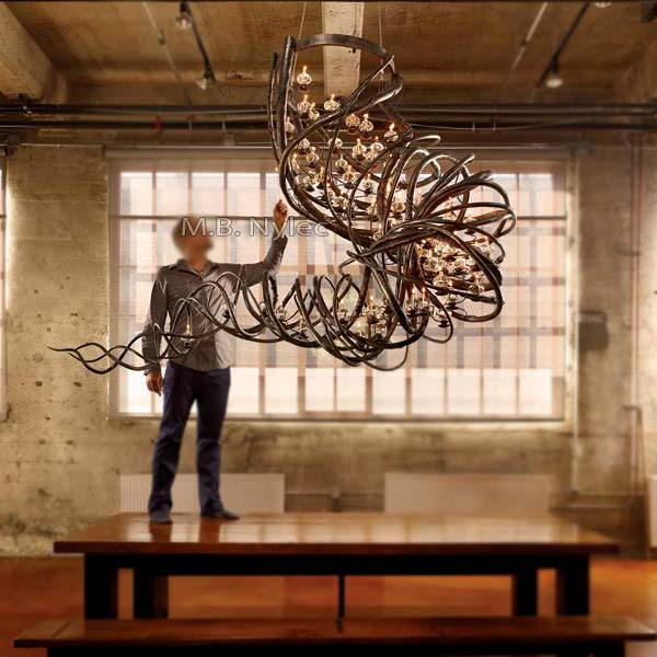 Unique forged chandelier