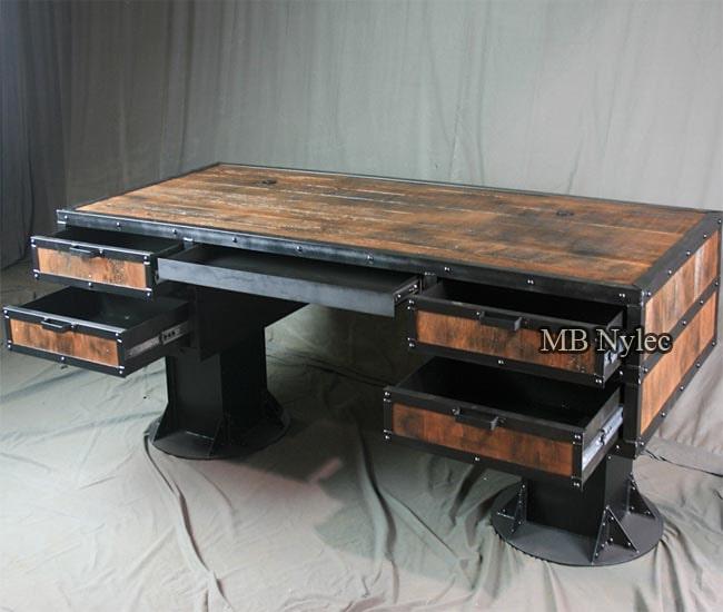 Wrought iron loft industrial desk