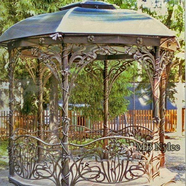 A forged gazebo with elements of Art Nouveau