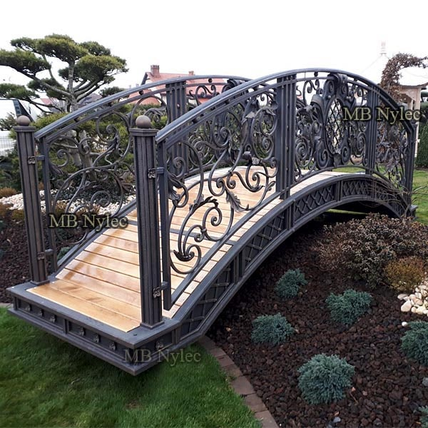 An exclusive, forged garden bridge in a glamor style